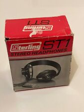 More details for vintage sterling st1 stereo headphones retro long cable black tested working