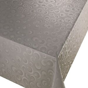 PVC TABLE CLOTH LUNAR SILVER CIRCLES GEO GREY SLATE METALLIC EFFECT WIPE ABLE