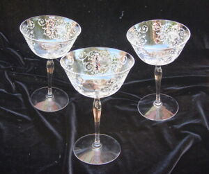 Vintage Etched Crystal Coupe Wine Cocktail Glasses (3)