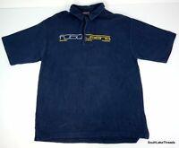 VTG Men's Fubu Jeans Heavy Knit Spellout Polo Shirt XL USA Navy Blue