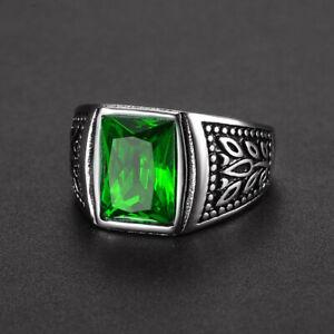 Celtic Flower Signet Rings Stainless Steel Green CZ Wedding Ring Men Biker Band