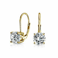 1CT Solitaire Brilliant Cut CZ Drop Earrings 14K Gold Plated Sterling Silver