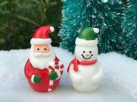 "Miniature Dollhouse FAIRY GARDEN Figurine ~ 1.25"" Mini CHRISTMAS Santa & Snowman"