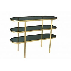 """46"""" L Glass 3 Tier Console Table Smoked Glass Surfaces Iron Frame Gold Metallic"""