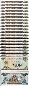 Vietnam 100 Dong 1991 - 1992, UNC, 20 Pcs LOT, P-105b, BIG Letter-Serial CV $100