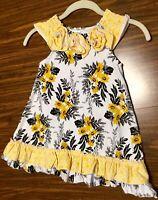 Little girls Sun Dress Yellow flowers Size Small 3T