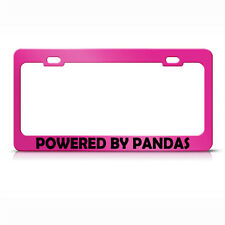 Powered By Pandas Hot Pink Metal License Plate Frame