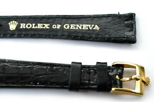 Rolex  NOS Authentic Vintage Leather Band 13mm with Genuine Buckle BLACK