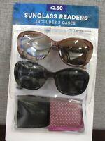 Icon Eyewear 2 pack Women's Invisible Seam Bifocal Sunglasses Readers  +2.50 NEW
