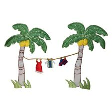 ID 1768 Palm Tree Clothesline Patch Tropical Drying Embroidered Iron On Applique
