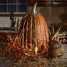 Pumpkin Luminary Tall Halloween Thanksgiving Indoor Outdoor Decoration New