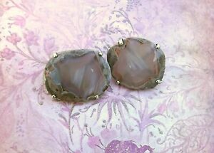 Vintage Sterling Silver Banded Agate Cufflinks Huge Statement  Artsy Links