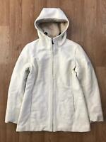 Vintage HENRI LLOYD Womens Wool Coat | W63 Hooded | Size 2 UK 10 Cream