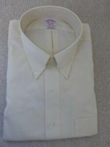 BROOKS BROTHERS MENS MADISON THE ORIGINAL POLO DRESS SHIRT YELLOW 17 ½-34 100% $