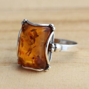 Rectangular Cognac Baltic Amber 925 Sterling Silver Ring Amber Jewellery