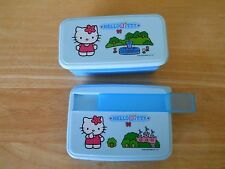 SANRIO HELLO KITTY STACKABLE PLASTIC BLUE  LUNCH  BOX & 1 FLAT STORAGE CONTAINER