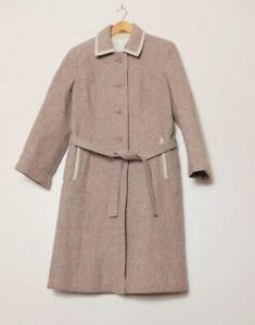 Vintage Pink Pure New Wool Long Coat (Fits UK 10) Detachable Belt