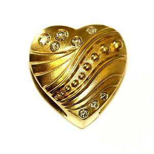 18k yellow gold .25ct SI2 H diamond heart pendant charm 10.1g omega slide estate