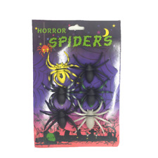 HALLOWEEN SPOOKY SPIDERS DECORATION FANCY DRESS PACK OF 6 SCARY SPIDER SET
