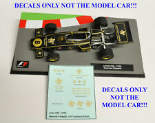 DECALS for Emerson Fittipaldi LOTUS 72D 1972 JPS 1:43 Formula 1 Car Collection