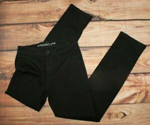 M&S Ladies Straight Leg Long UK 10 Jeans Denim Trousers Black Stretch