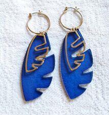 & Other Stories Blue Gold Plant Monstera Leaf Drop Earrings hoop dangle