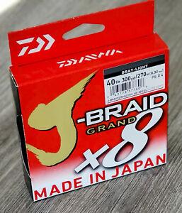 Daiwa J-Braid Grand 8X Braided Line Gray-Light 40lb 300yds