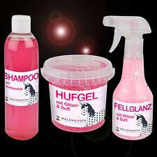 3er Pflegeset GLITZER, Hufgel, Schweifspray, Shampoo m. Himbeerduft, Pony VB WB