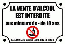 SIGNALETIQUE COMMERCE VENTE ALCOOL INTERDITE aux MINEURS PERSONNALISABLE 10x15cm