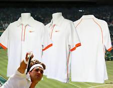 Neuf Vintage Nike Tennis Drifit Polo Blanc / Orange M