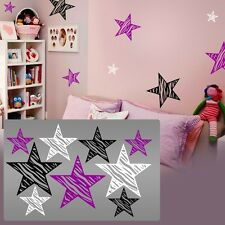 Zebra decal stars,Zebra stars wall,Zebra stars wall hearts decal room sticker