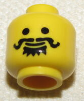 LEGO NEW MINIFIGURE HEAD BLACK HANDLE BAR CURLY MUSTACHE CASTLE MINIFIG FACE