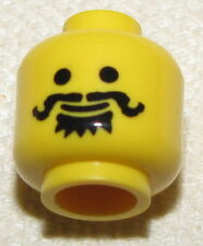 LEGO NEW MINIFIGURE HEAD BLACK HANDLE BAR CURLY MUSTACHE CASTLE MINIFIG FACE