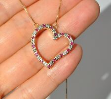 10K SOLID YELLOW GOLD NATURAL RUBY & DIAMOND HEART NECKLACE PENDANT MEDIUM