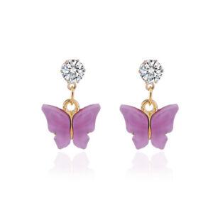 Purple 1Pai Butterfly Crystal Rhinestone Acrylic Dangle Hoop Earrings Women Gift