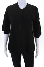Vince Charcoal Gray Cashmere 3/4 Sleeve Cardigan Sweater Size Small