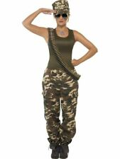 Womens Khaki Camo Deluxe Army Military Fancy Dress Costume Ladies Outfit