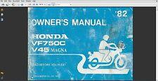 1982 Honda Magna V45 VF750C Owners Manual PDF Owner's Maintnance 750