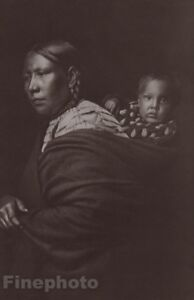 1900/72 Photo Gravure NATIVE AMERICAN INDIAN Mother & Child EDWARD CURTIS 11x14