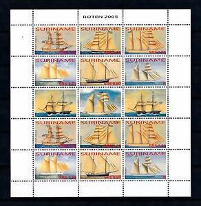 [SUV1320] Surinam 2005 Classic sailing ships Boats Miniature Sheet with tab MNH