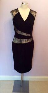 BNWT ALEXON BLACK & PALE GOLD & LACE TRIM OCCASION DRESS SIZE 18 RRP £135
