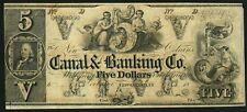 5 Cent 1847 Franklin Vignette on a $5 Canal & Banking Co. Banknote