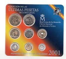 CARTERA OFICIAL ESPAÑA 2001 BU Spain 2001 PESETAS  coin set BU