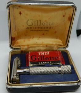 Vintage Gillette Aristocrat razor set #22, Made in England, model 1949
