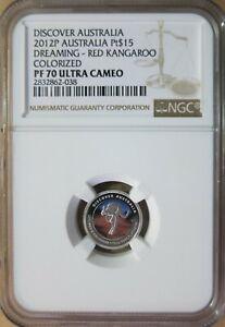 2012 P Australia 1/10 oz. Platinum Colorized Red Kangaroo NGC PF 70 Ultra Cameo