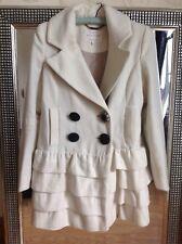 Ladies RIVER ISLAND cream Frill Ruffle Hem Jacket Coat size UK 8