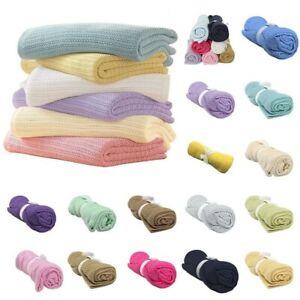 80*100cm Cotton Baby Newborn Infant Cellular Blanket Pram Cot Bed Crib Blanket