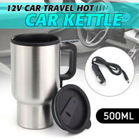 500ML Car Based Heating Stainless Steel Cup Kettle 12V Travel Coffee Heated Mug
