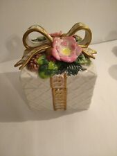 Fitz And Floyd Classics Christmas Wreath Gift Box Trinket Box