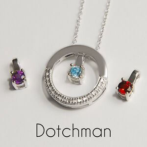 925 Sterling Silver Necklace With CZ Setting and Interchangable Centre Stone